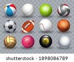 realistic sports balls. sport... | Shutterstock .eps vector #1898086789