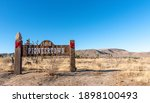 Entrance to the Pioneertown - fake ghost city in California desert founded in 1946 for Hollywood western movies.