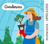 woman with plants in greenhouse.... | Shutterstock .eps vector #1898131003