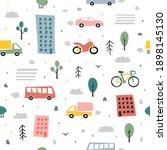 city seamless pattern. childish ... | Shutterstock . vector #1898145130