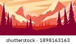cartoon mountain landscape in... | Shutterstock .eps vector #1898163163