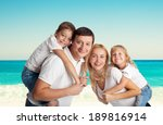family with two children on the ... | Shutterstock . vector #189816914
