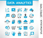 data analytics icons  blue icons | Shutterstock .eps vector #189817490
