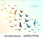 colorful silhouettes of flying... | Shutterstock .eps vector #189817940