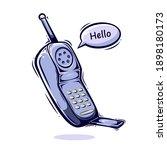 Old Phone Cartoon Illustration...