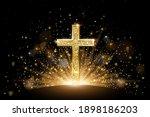 gold glitter christian cross in ... | Shutterstock .eps vector #1898186203