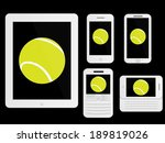 mobile devices with tennis ball ... | Shutterstock . vector #189819026