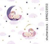 Cute Unicorn Sleeping On The...
