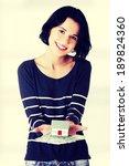 happy woman holding polish... | Shutterstock . vector #189824360