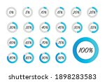 set of blue circle percentage...