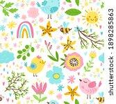 spring seamless pattern in... | Shutterstock .eps vector #1898285863