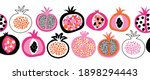 pomegranate fruit vector border ... | Shutterstock .eps vector #1898294443