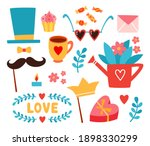 valentine day stickers with... | Shutterstock .eps vector #1898330299