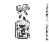 jar of drug pills sketch... | Shutterstock . vector #1898350513