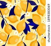 lemon fruit and flower vector...   Shutterstock .eps vector #1898383069