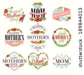 set of cute greeting design... | Shutterstock .eps vector #189844013