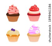 cute colorful cream cupcakes of ... | Shutterstock .eps vector #1898461186