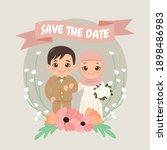cute moslem wedding bridal... | Shutterstock .eps vector #1898486983