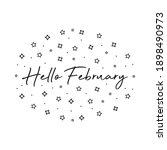 handwritten hello february text ... | Shutterstock .eps vector #1898490973