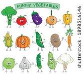 funny cartoon vegetables... | Shutterstock .eps vector #1898516146