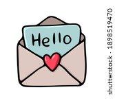 hand drawn black outline postal ... | Shutterstock .eps vector #1898519470