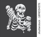 hand drawing skull holding... | Shutterstock .eps vector #1898554570