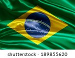 brazilian flag fabric with waves | Shutterstock . vector #189855620