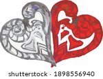 two ornamental hearts in red... | Shutterstock .eps vector #1898556940