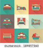 vector bed icon set | Shutterstock .eps vector #189857360