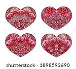 vector hearts set. decorative... | Shutterstock .eps vector #1898593690