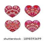vector hearts set. decorative... | Shutterstock .eps vector #1898593699