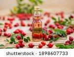 Rosehip Oil In Glass Bottle...