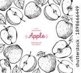 apple frame  hand drawn... | Shutterstock .eps vector #1898666449