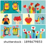 all you need is love. hands and ... | Shutterstock .eps vector #1898679853