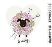 funny sheep made of yarn balls. ...   Shutterstock .eps vector #1898693446