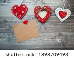 Red Valentine Hearts With Card...