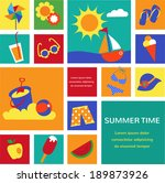 colorful set of summer icons... | Shutterstock .eps vector #189873926