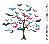 creative tree with bats instead ... | Shutterstock .eps vector #1898746750