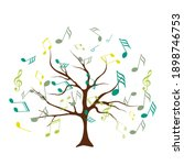 vector tree with musical notes. ... | Shutterstock .eps vector #1898746753