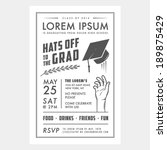 vintage graduation party... | Shutterstock .eps vector #189875429