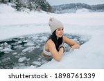 Winter Swimming. Woman In...