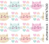 seamless pattern. cute kittens... | Shutterstock .eps vector #1898767630