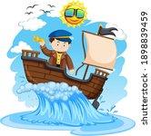 captain standing on the ship on ... | Shutterstock .eps vector #1898839459
