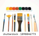paints and brushes  set of...   Shutterstock . vector #1898846773