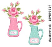Set Of Retro Jugs With Roses A...