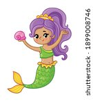 cute mermaid smiles and holds a ... | Shutterstock .eps vector #1899008746