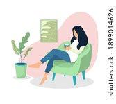 concept of a girl inside home... | Shutterstock .eps vector #1899014626