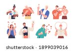 set of people giving and... | Shutterstock .eps vector #1899039016
