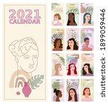 2020 calendar woman face...   Shutterstock .eps vector #1899059446