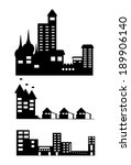 silhouette of building and city | Shutterstock .eps vector #189906140